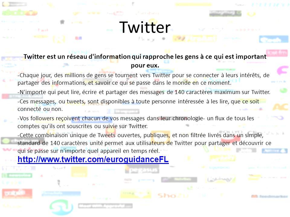 Twitter Twitter est un réseau d'information qui rapproche les gens à ce qui est important pour eux. -Chaque jour, des millions de gens se tournent ver