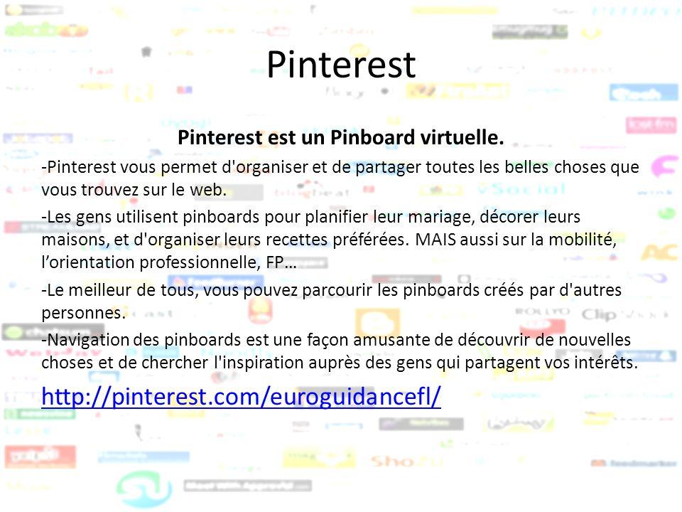 Pinterest Pinterest est un Pinboard virtuelle. -Pinterest vous permet d'organiser et de partager toutes les belles choses que vous trouvez sur le web.