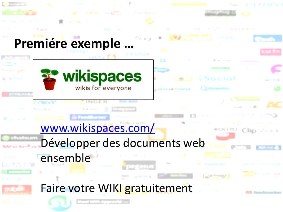 Premiére exemple … www.wikispaces.com/ Développer des documents web ensemble Faire votre WIKI gratuitement