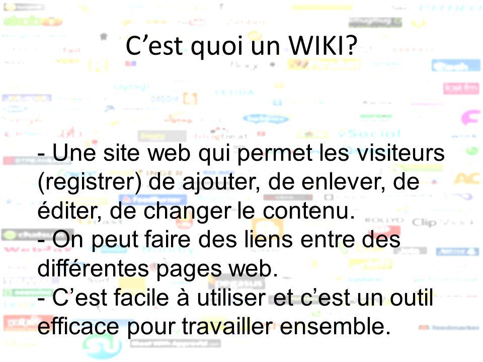 Optimaliser votre expérience Wiki Wikispaces trucs et astuces: http://www.wikispaces.com/wikitips Wikispaces Aide: http://www.wikispaces.com/help+index Wikispaces Tours: http://www.wikispaces.com/site/tour Création / Enregistrement de WIKI éducation: http://www.wikispaces.com/help+teachers