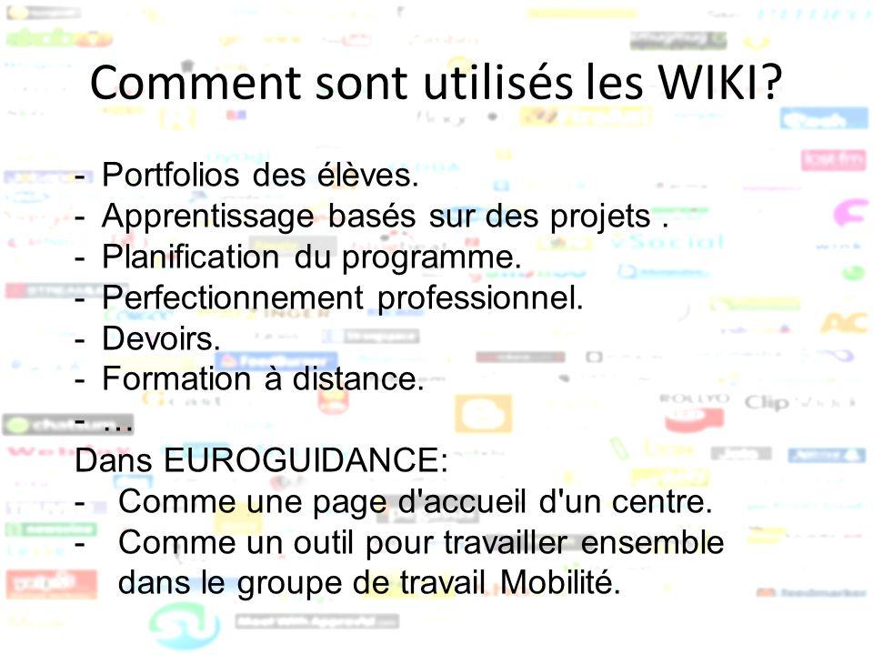 Comment sont utilisés les WIKI? -Portfolios des élèves. -Apprentissage basés sur des projets. -Planification du programme. -Perfectionnement professio