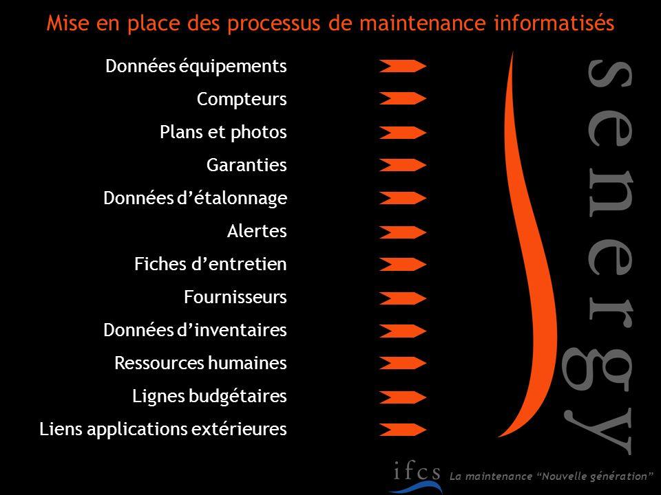 La maintenance Nouvelle génération Mise en place des processus de maintenance informatisés Données équipements Compteurs Plans et photos Garanties Don