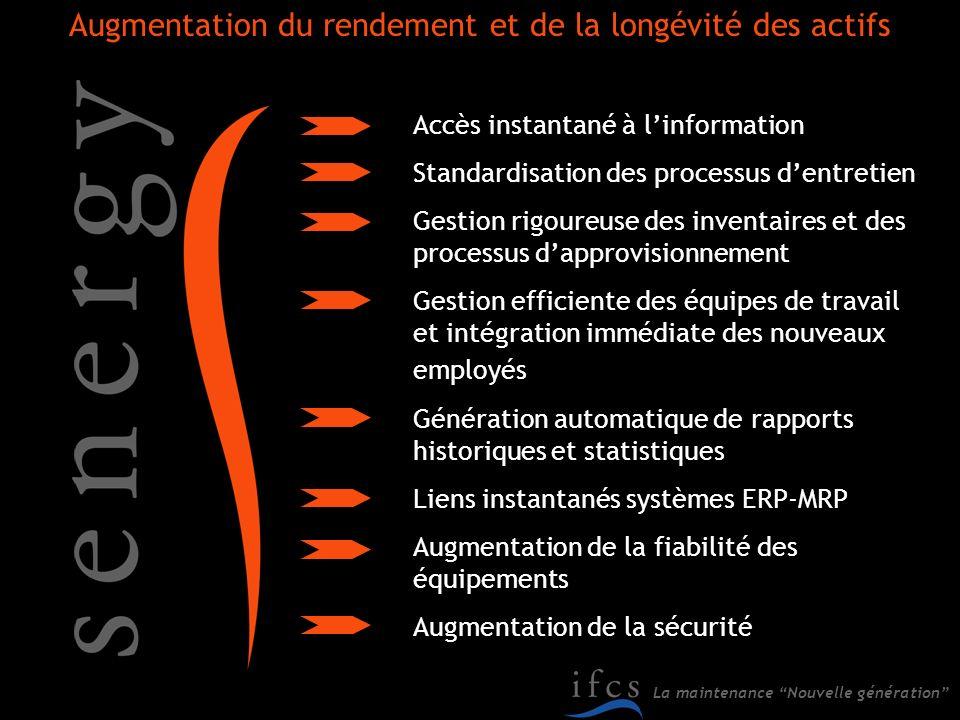La maintenance Nouvelle génération Augmentation du rendement et de la longévité des actifs Accès instantané à linformation Standardisation des process