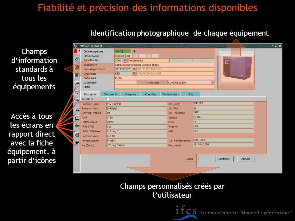 La maintenance Nouvelle génération Accès à tous les écrans en rapport direct avec la fiche équipement, à partir dicônes Identification photographique