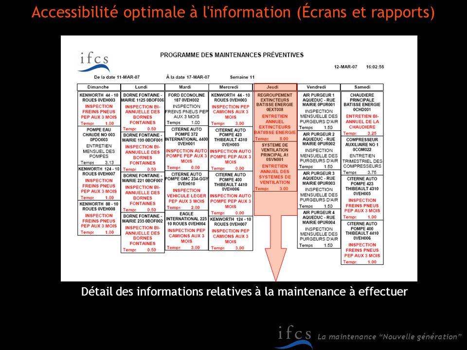 La maintenance Nouvelle génération Détail des informations relatives à la maintenance à effectuer Accessibilité optimale à l'information (Écrans et ra