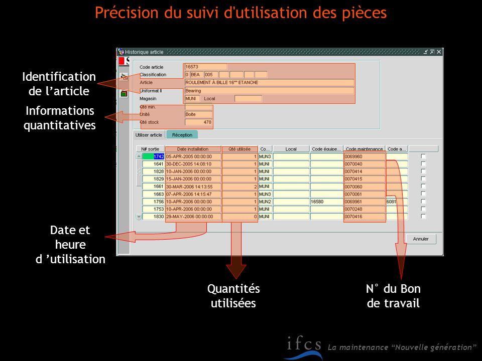 La maintenance Nouvelle génération Identification de larticle Informations quantitatives Date et heure d utilisation Quantités utilisées N° du Bon de