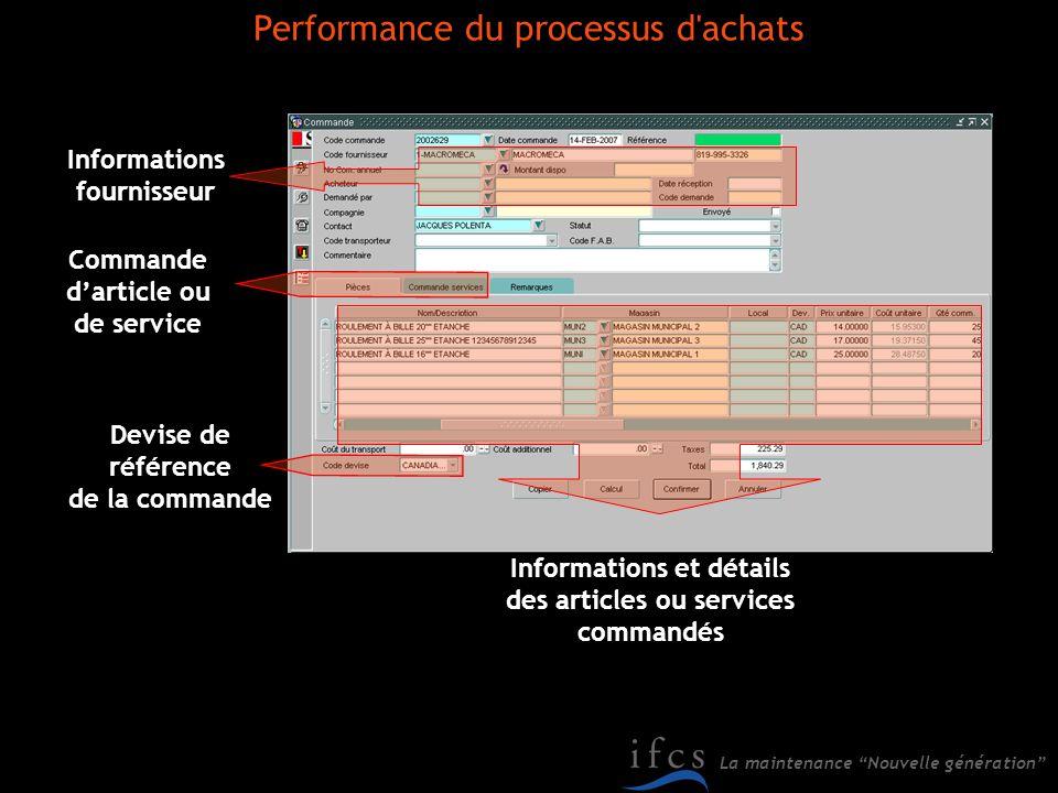 La maintenance Nouvelle génération Informations fournisseur Informations et détails des articles ou services commandés Devise de référence de la comma