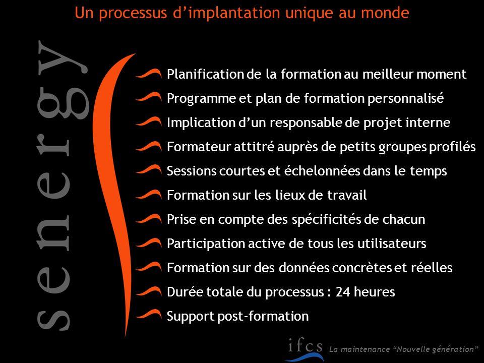 La maintenance Nouvelle génération Planification de la formation au meilleur moment Programme et plan de formation personnalisé Implication dun respon