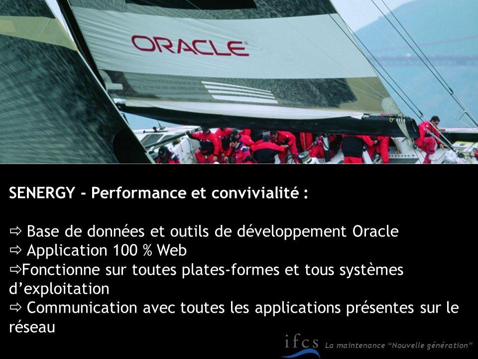 La maintenance Nouvelle génération SENERGY - Performance et convivialité : Base de données et outils de développement Oracle Application 100 % Web Fon