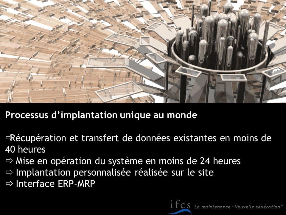 La maintenance Nouvelle génération Processus dimplantation unique au monde Récupération et transfert de données existantes en moins de 40 heures Mise