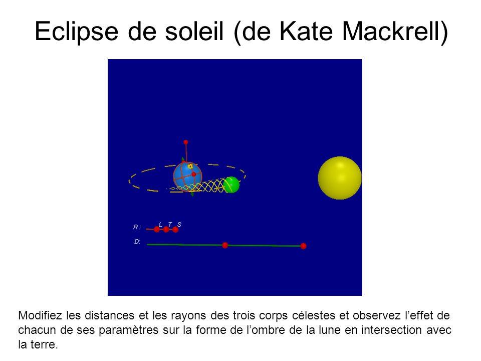 Eclipse de soleil (de Kate Mackrell) Modifiez les distances et les rayons des trois corps célestes et observez leffet de chacun de ses paramètres sur
