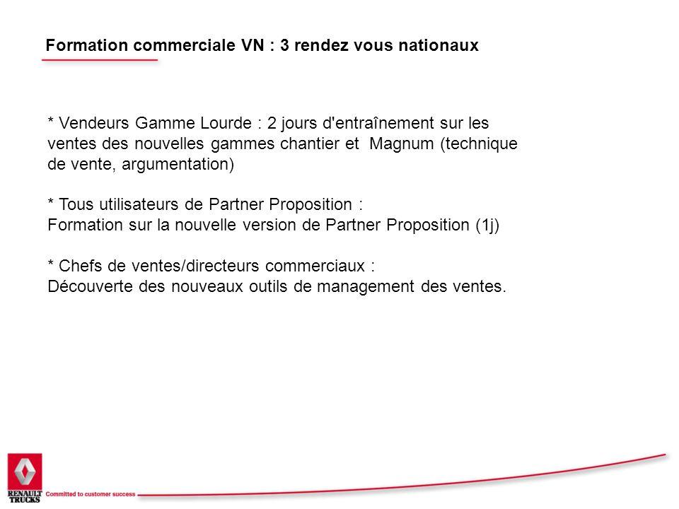 Formation commerciale VN : 3 rendez vous nationaux * Vendeurs Gamme Lourde : 2 jours d'entraînement sur les ventes des nouvelles gammes chantier et Ma