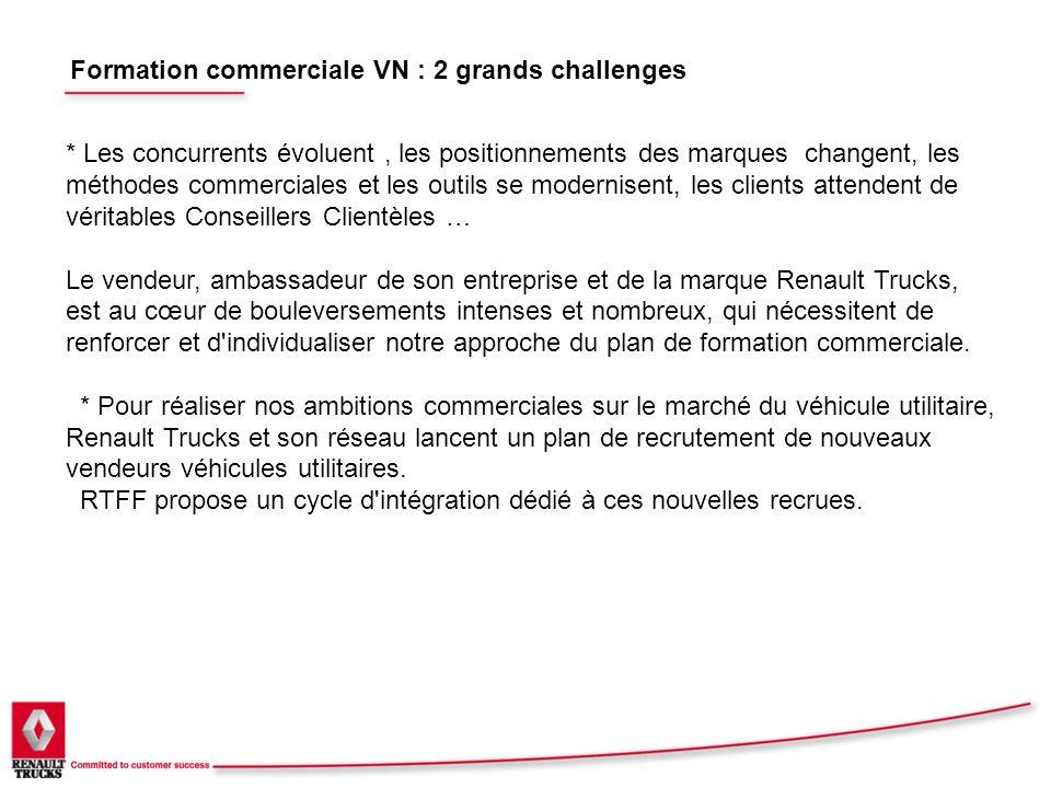 Formation commerciale VN : 2 grands challenges * Les concurrents évoluent, les positionnements des marques changent, les méthodes commerciales et les