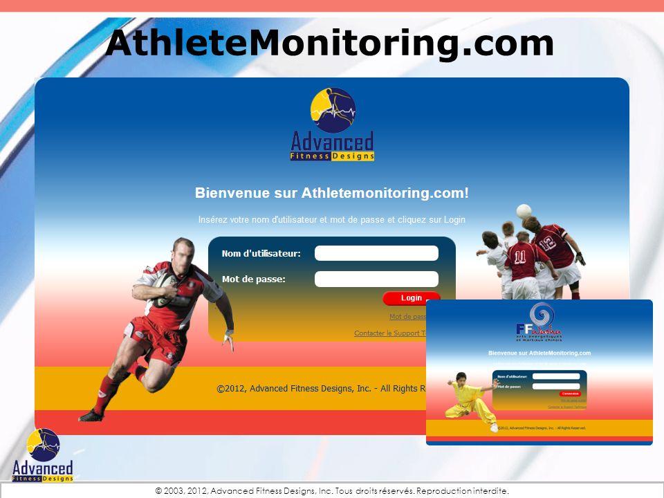 © 2003, 2012, Advanced Fitness Designs, Inc. Tous droits réservés. Reproduction interdite. AthleteMonitoring.com