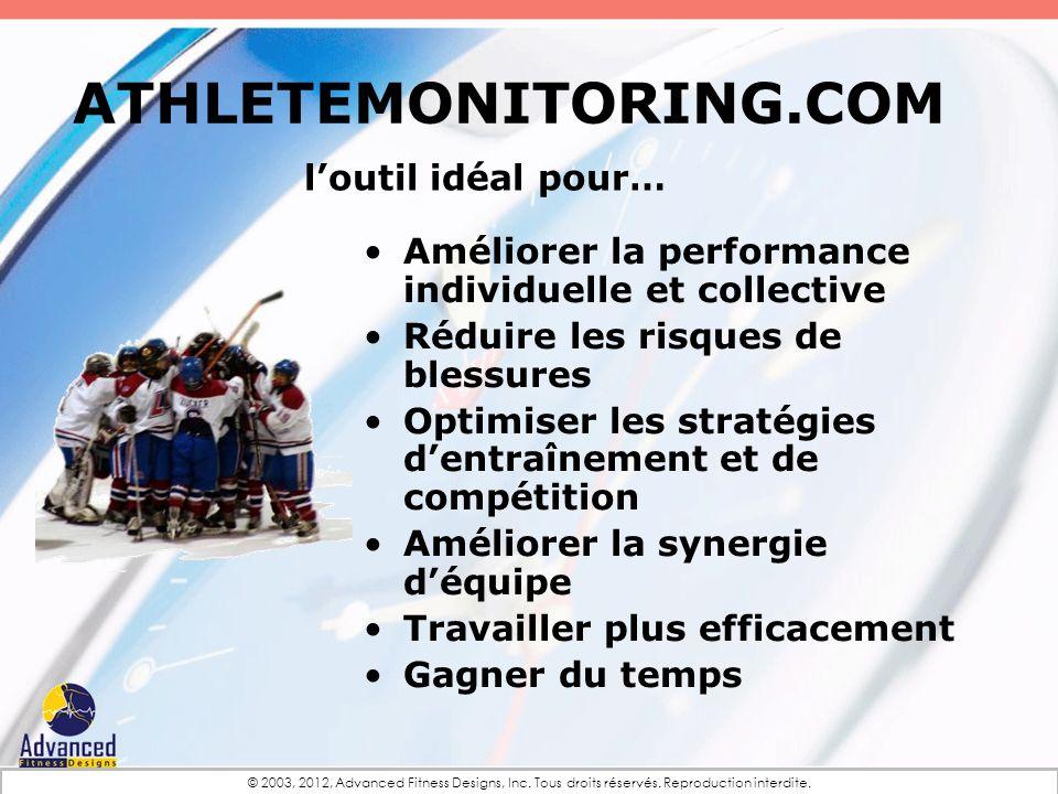 ATHLETEMONITORING.COM Améliorer la performance individuelle et collective Réduire les risques de blessures Optimiser les stratégies dentraînement et d