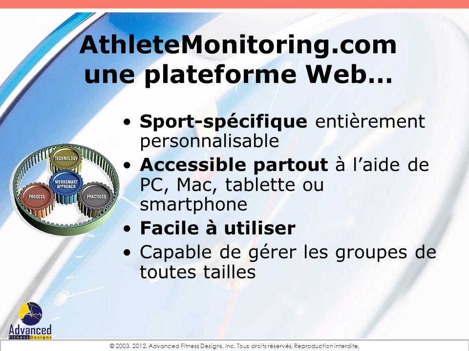 AthleteMonitoring.com une plateforme Web… Sport-spécifique entièrement personnalisable Accessible partout à laide de PC, Mac, tablette ou smartphone F