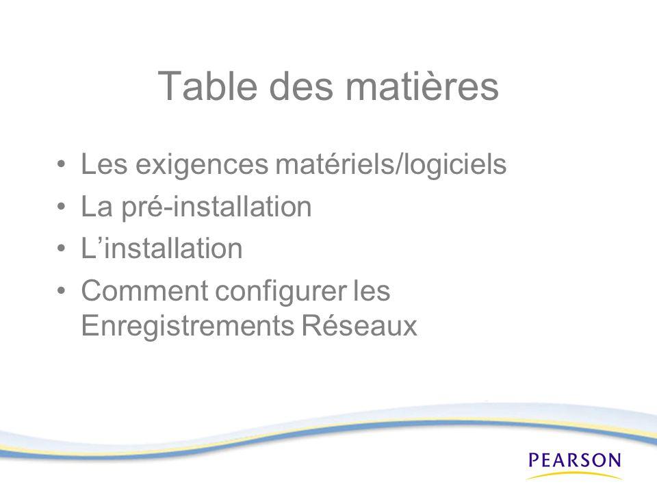 Table des matières Les exigences matériels/logiciels La pré-installation Linstallation Comment configurer les Enregistrements Réseaux