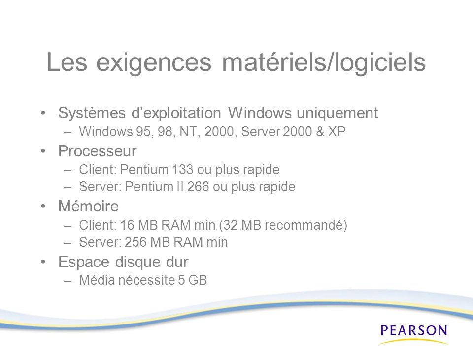 Les exigences matériels/logiciels Systèmes dexploitation Windows uniquement –Windows 95, 98, NT, 2000, Server 2000 & XP Processeur –Client: Pentium 133 ou plus rapide –Server: Pentium II 266 ou plus rapide Mémoire –Client: 16 MB RAM min (32 MB recommandé) –Server: 256 MB RAM min Espace disque dur –Média nécessite 5 GB