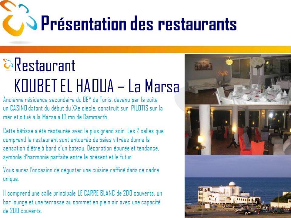 Présentation des restaurants Restaurant KOUBET EL HAOUA – La Marsa Ancienne résidence secondaire du BEY de Tunis, devenu par la suite un CASINO datant du début du XXe siècle, construit sur PILOTIS sur la mer et situé à la Marsa à 10 mn de Gammarth.