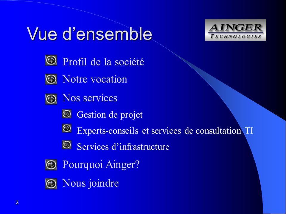 2 Vue densemble Profil de la société Notre vocation Nos services Gestion de projet Experts-conseils et services de consultation TI Services dinfrastructure Pourquoi Ainger.