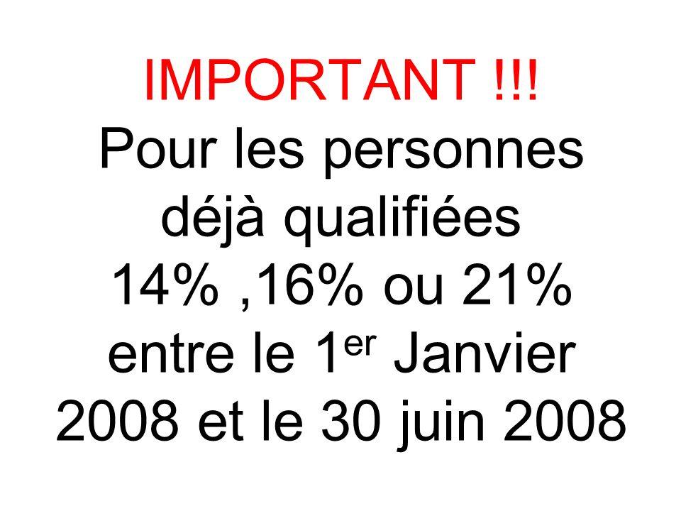 IMPORTANT !!! Pour les personnes déjà qualifiées 14%,16% ou 21% entre le 1 er Janvier 2008 et le 30 juin 2008