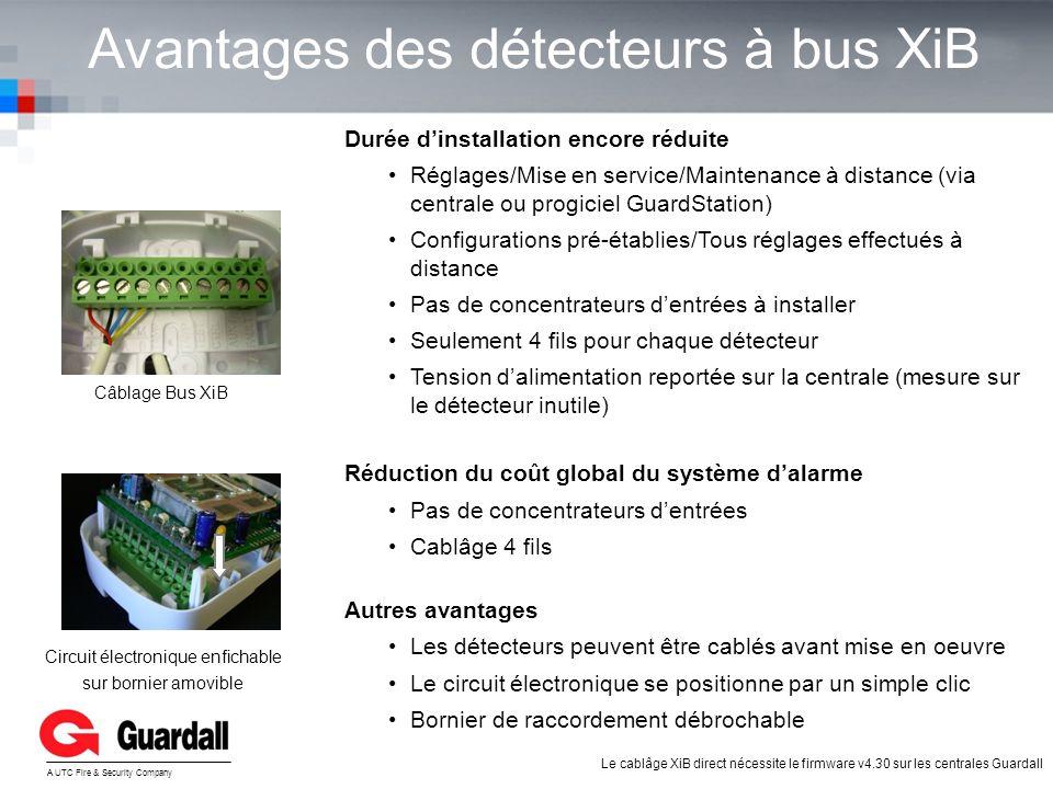 Avantages des détecteurs à bus XiB YOUR LOGO A UTC Fire & Security Company Durée dinstallation encore réduite Réglages/Mise en service/Maintenance à d
