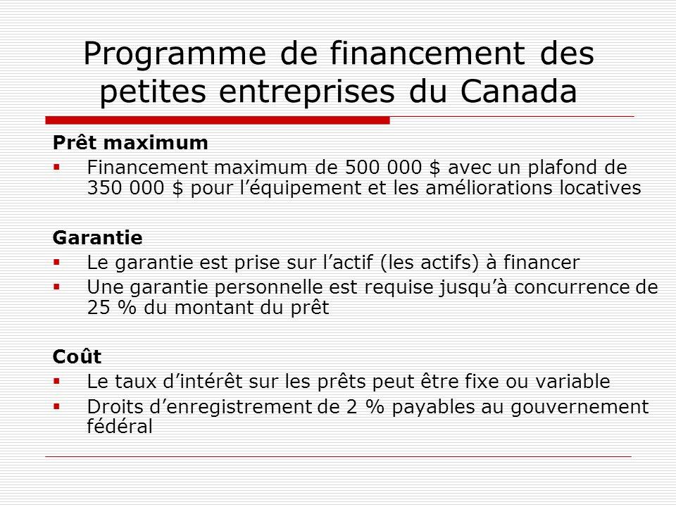 Programme de financement des petites entreprises du Canada Prêt maximum Financement maximum de 500 000 $ avec un plafond de 350 000 $ pour léquipement