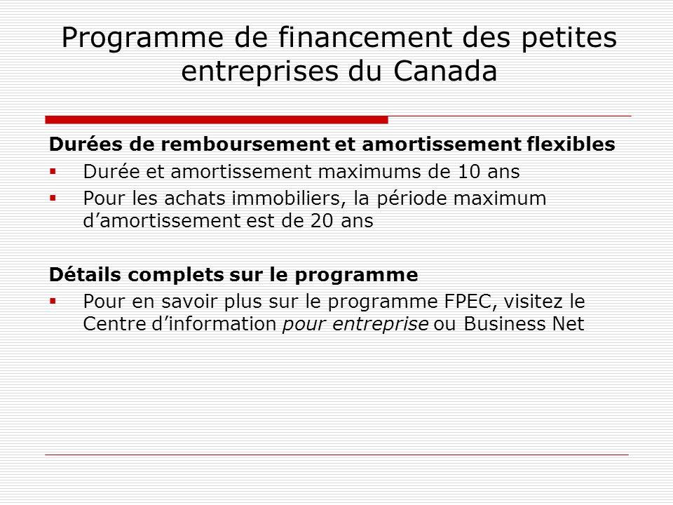 Programme de financement des petites entreprises du Canada Durées de remboursement et amortissement flexibles Durée et amortissement maximums de 10 an