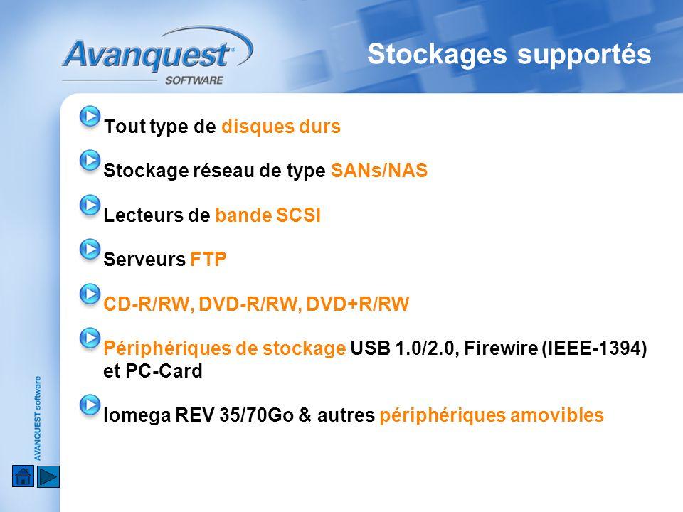 Stockages supportés Tout type de disques durs Stockage réseau de type SANs/NAS Lecteurs de bande SCSI Serveurs FTP CD-R/RW, DVD-R/RW, DVD+R/RW Périphériques de stockage USB 1.0/2.0, Firewire (IEEE-1394) et PC-Card Iomega REV 35/70Go & autres périphériques amovibles