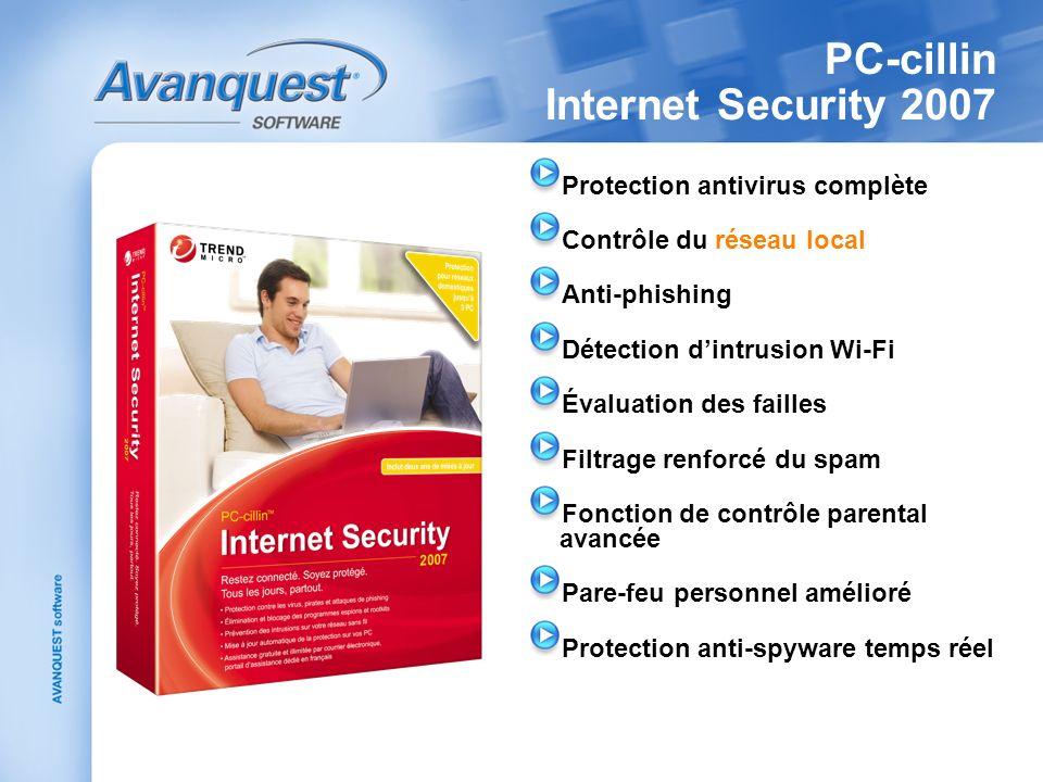 PC-cillin Internet Security 2007 Protection antivirus complète Contrôle du réseau local Anti-phishing Détection dintrusion Wi-Fi Évaluation des failles Filtrage renforcé du spam Fonction de contrôle parental avancée Pare-feu personnel amélioré Protection anti-spyware temps réel