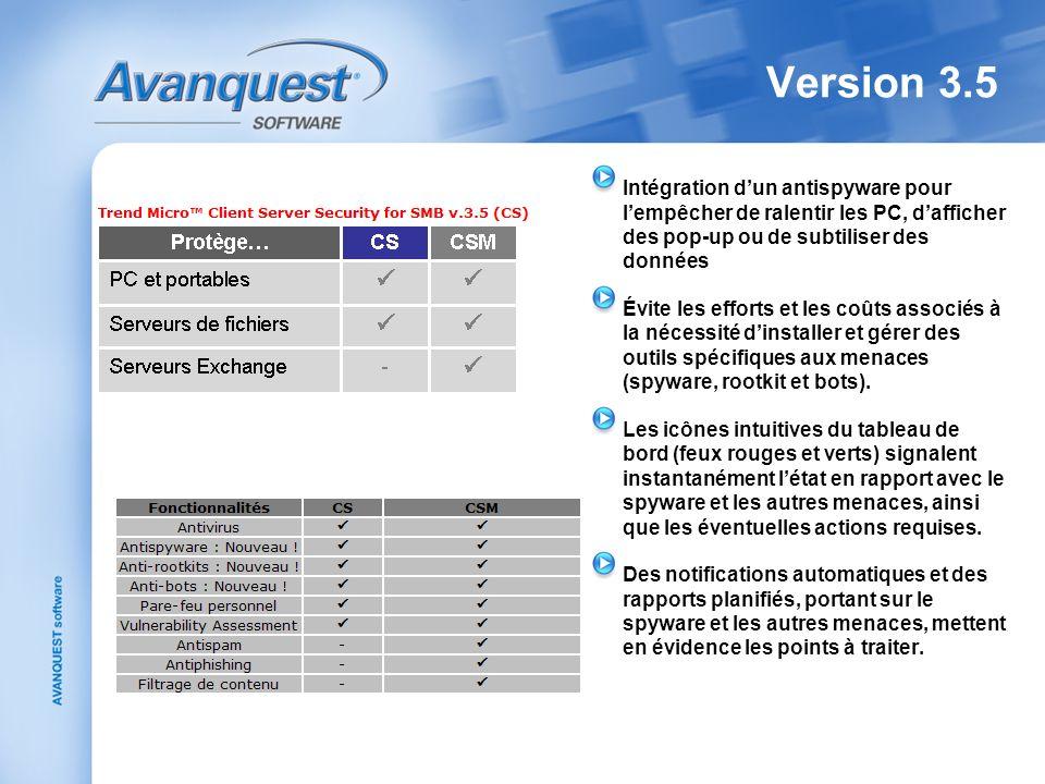 Version 3.5 Intégration dun antispyware pour lempêcher de ralentir les PC, dafficher des pop-up ou de subtiliser des données Évite les efforts et les
