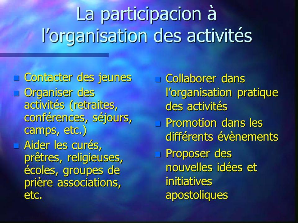 La participacion à lorganisation des activités n Contacter des jeunes n Organiser des activités (retraites, conférences, séjours, camps, etc.) n Aider