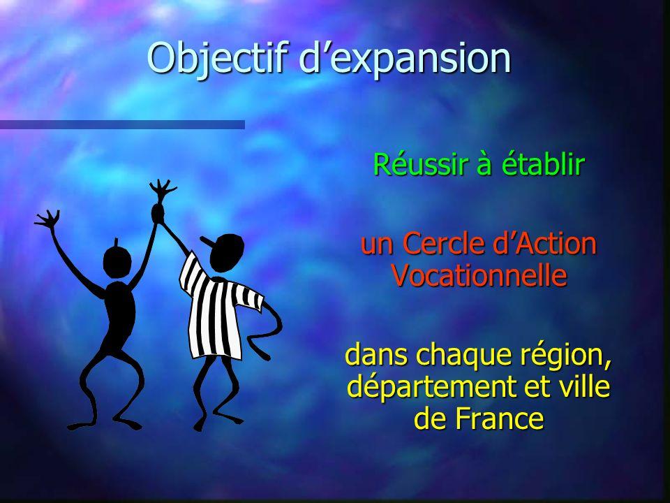 Objectif dexpansion Réussir à établir un Cercle dAction Vocationnelle dans chaque région, département et ville de France
