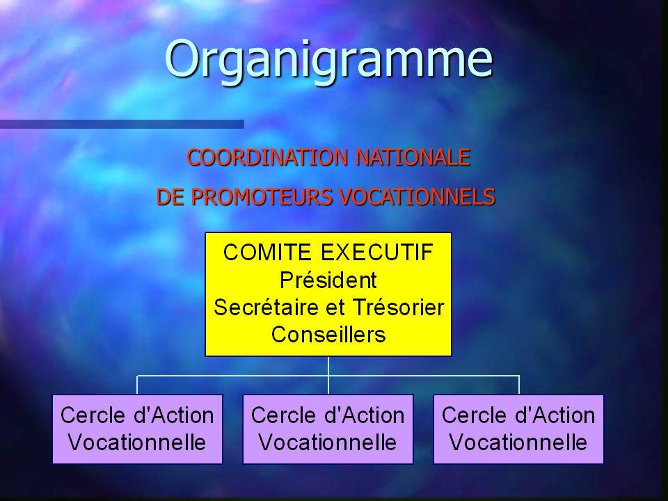 Fonction de la Coordination de Promoteurs Vocationnels n Organiser et développer, de façon organisée, le travail des promoteurs vocationnels et en augmenter le nombre n Structurer les CAV pour faire connaître et étendre ce travail dans chaque département et région