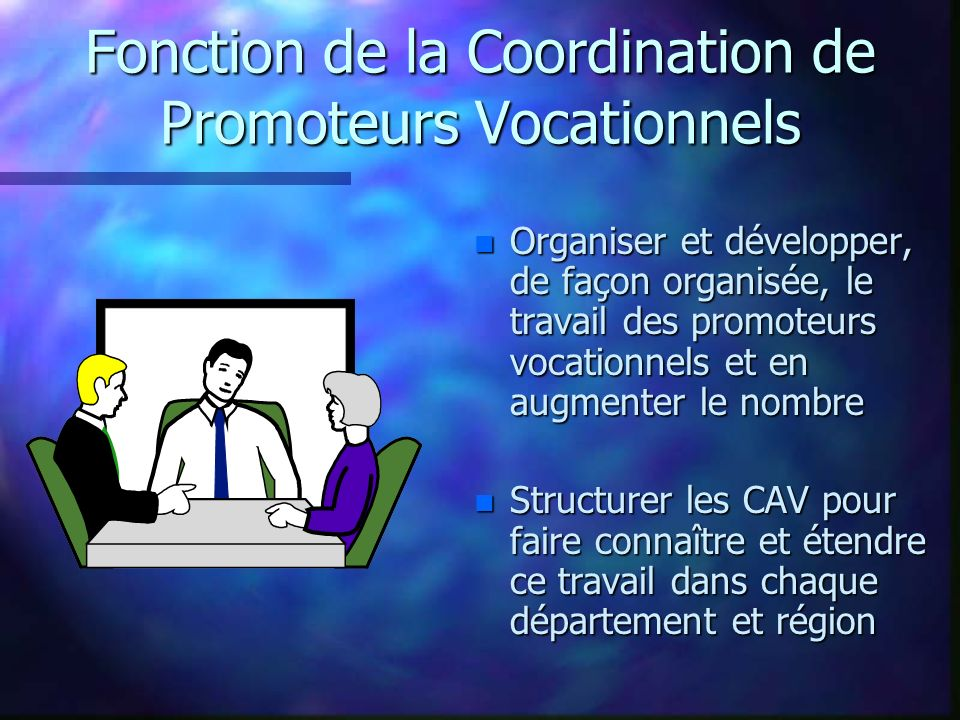 Fonction de la Coordination de Promoteurs Vocationnels n Organiser et développer, de façon organisée, le travail des promoteurs vocationnels et en aug