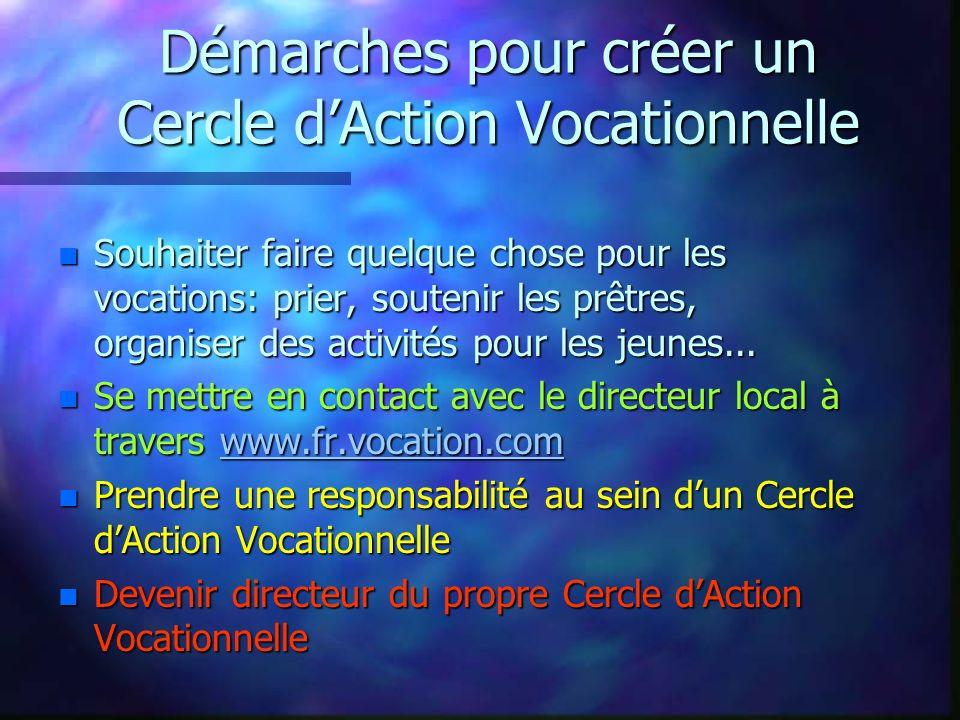 Démarches pour créer un Cercle dAction Vocationnelle n Souhaiter faire quelque chose pour les vocations: prier, soutenir les prêtres, organiser des activités pour les jeunes...