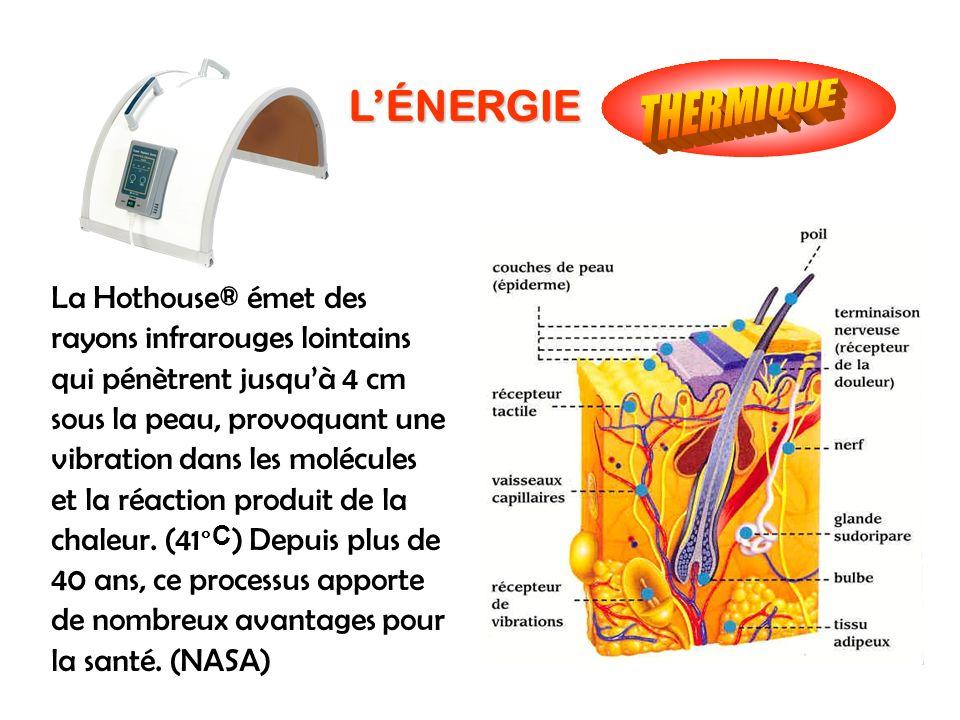 LÉNERGIE La Hothouse® émet des rayons infrarouges lointains qui pénètrent jusquà 4 cm sous la peau, provoquant une vibration dans les molécules et la
