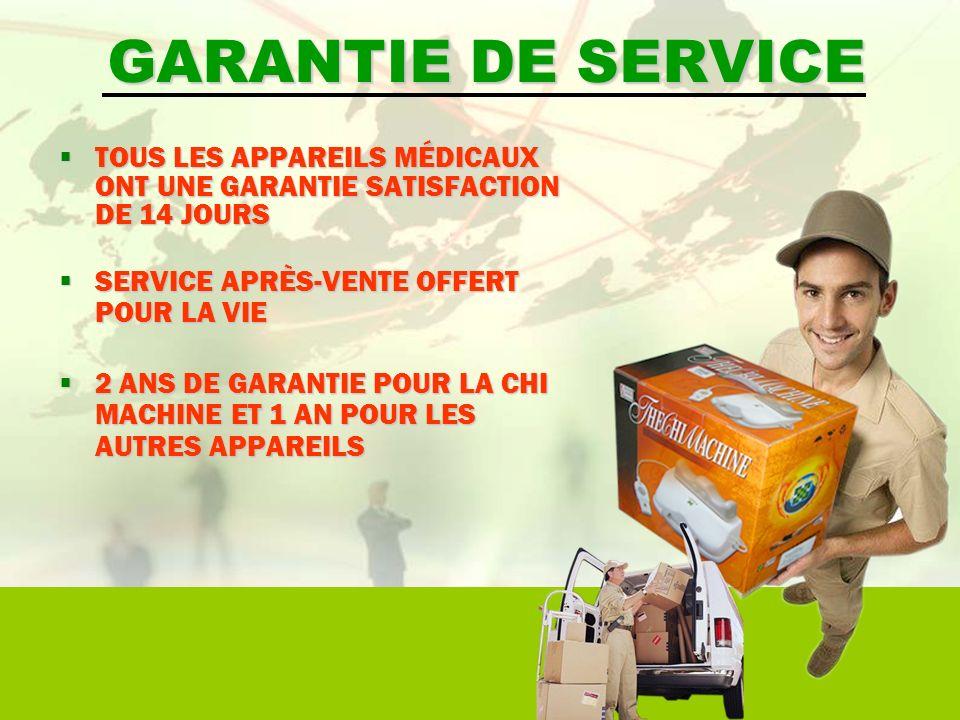 GARANTIE DE SERVICE TOUS LES APPAREILS MÉDICAUX ONT UNE GARANTIE SATISFACTION DE 14 JOURS TOUS LES APPAREILS MÉDICAUX ONT UNE GARANTIE SATISFACTION DE