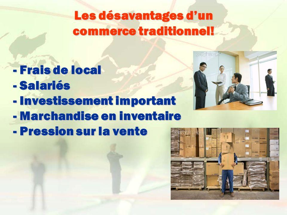Les désavantages dun commerce traditionnel! - Frais de local - Salariés - Investissement important - Marchandise en inventaire - Pression sur la vente
