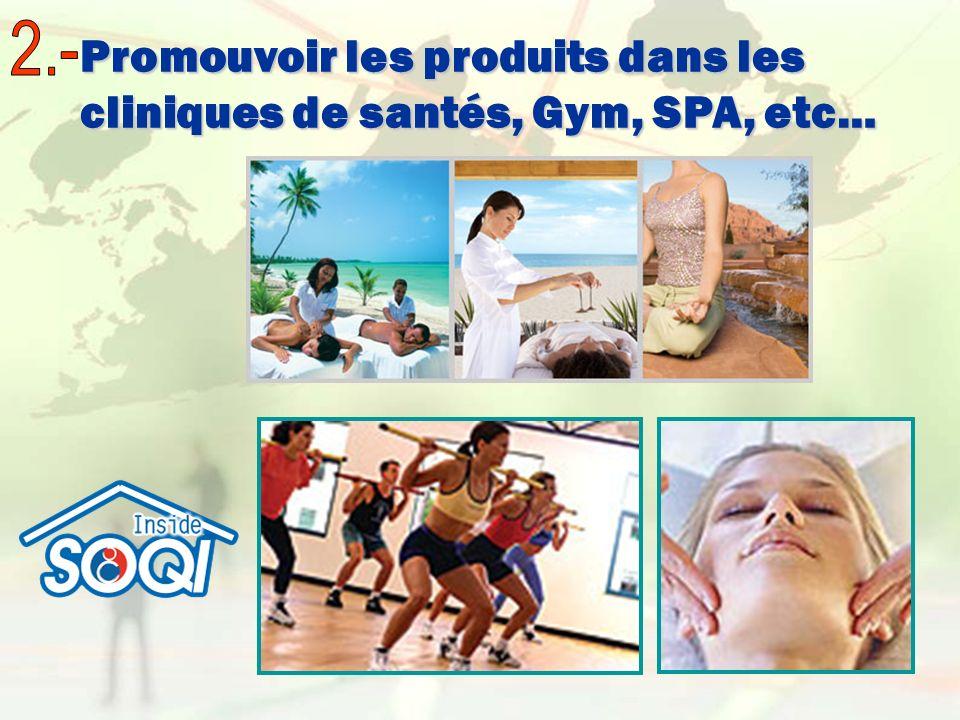 Promouvoir les produits dans les cliniques de santés, Gym, SPA, etc… Promouvoir les produits dans les cliniques de santés, Gym, SPA, etc…