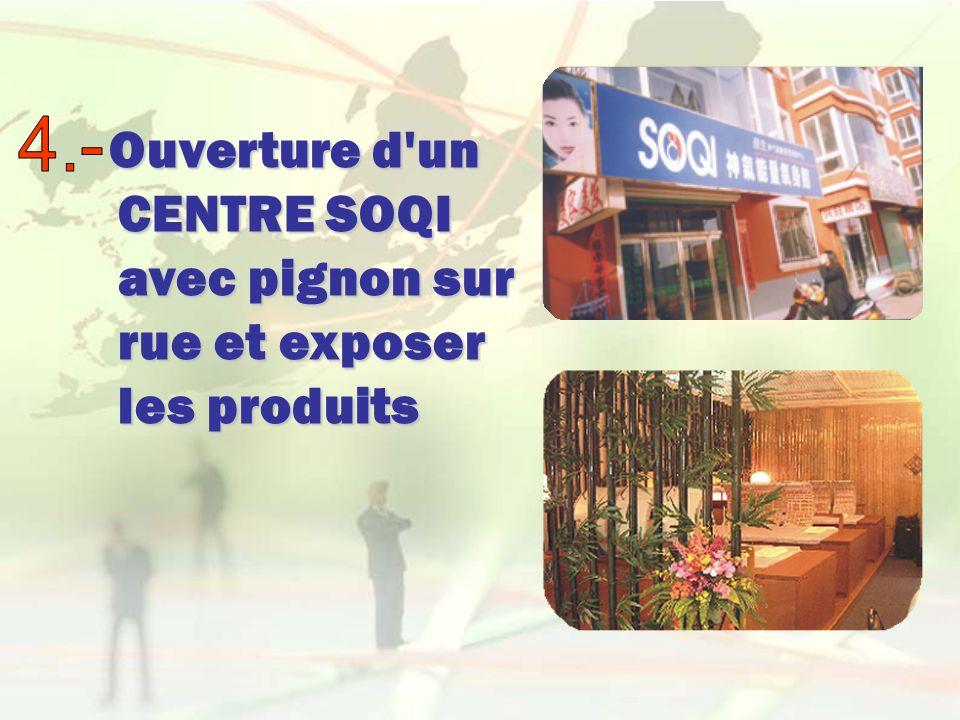 Ouverture d'un CENTRE SOQI avec pignon sur rue et exposer les produits Ouverture d'un CENTRE SOQI avec pignon sur rue et exposer les produits