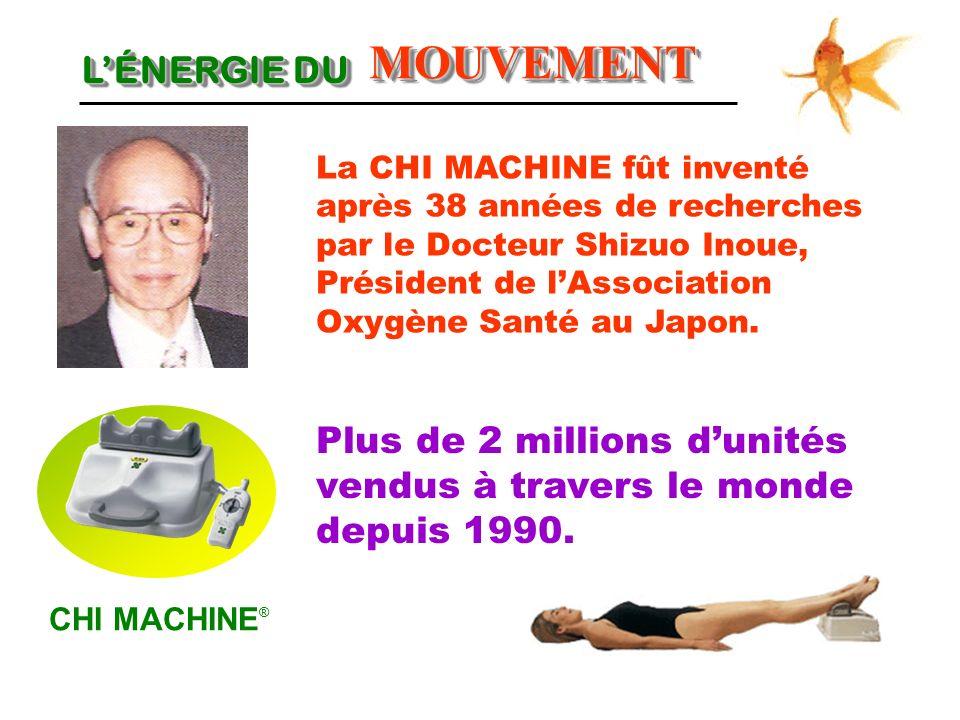 LÉNERGIE DU CHI MACHINE ® MOUVEMENTMOUVEMENT Plus de 2 millions dunités vendus à travers le monde depuis 1990. La CHI MACHINE fût inventé après 38 ann