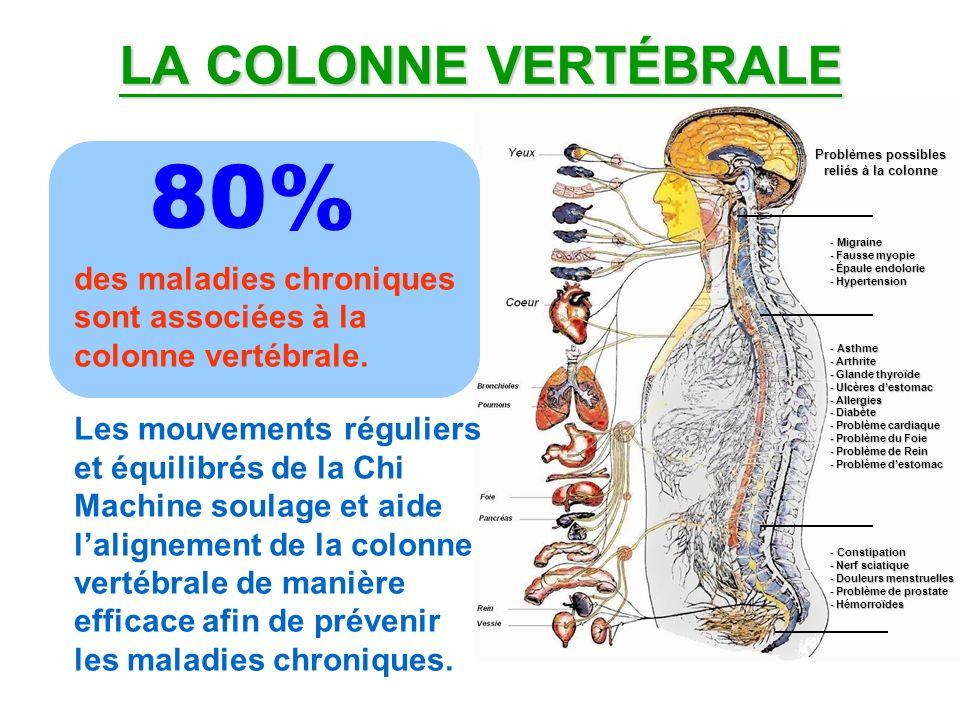 LA COLONNE VERTÉBRALE des maladies chroniques sont associées à la colonne vertébrale. Les mouvements réguliers et équilibrés de la Chi Machine soulage