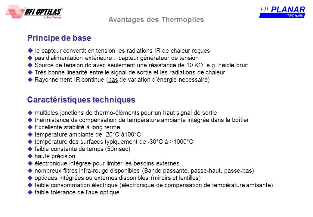 Principe de base u u le capteur convertit en tension les radiations IR de chaleur reçues u u pas dalimentation extérieure : capteur générateur de tens