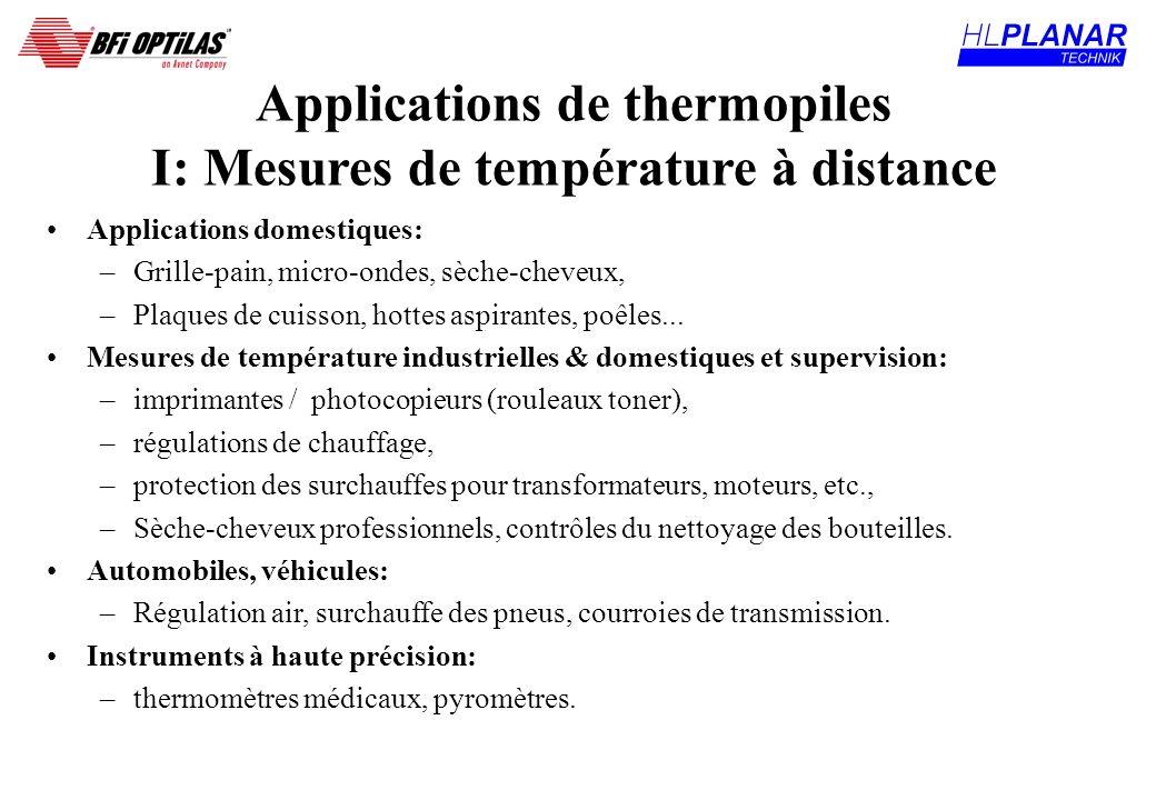 Applications de thermopiles I: Mesures de température à distance Applications domestiques: –Grille-pain, micro-ondes, sèche-cheveux, –Plaques de cuiss