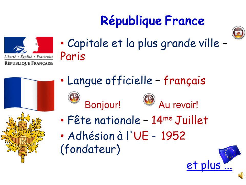 République France Capitale et la plus grande ville – Paris Langue officielle – français Bonjour!Au revoir! Fête nationale – 14 me Juillet Adhésion à l