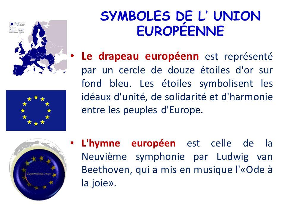 SYMBOLES DE L UNION EUROPÉENNE Le drapeau européenn est représenté par un cercle de douze étoiles d'or sur fond bleu. Les étoiles symbolisent les idéa