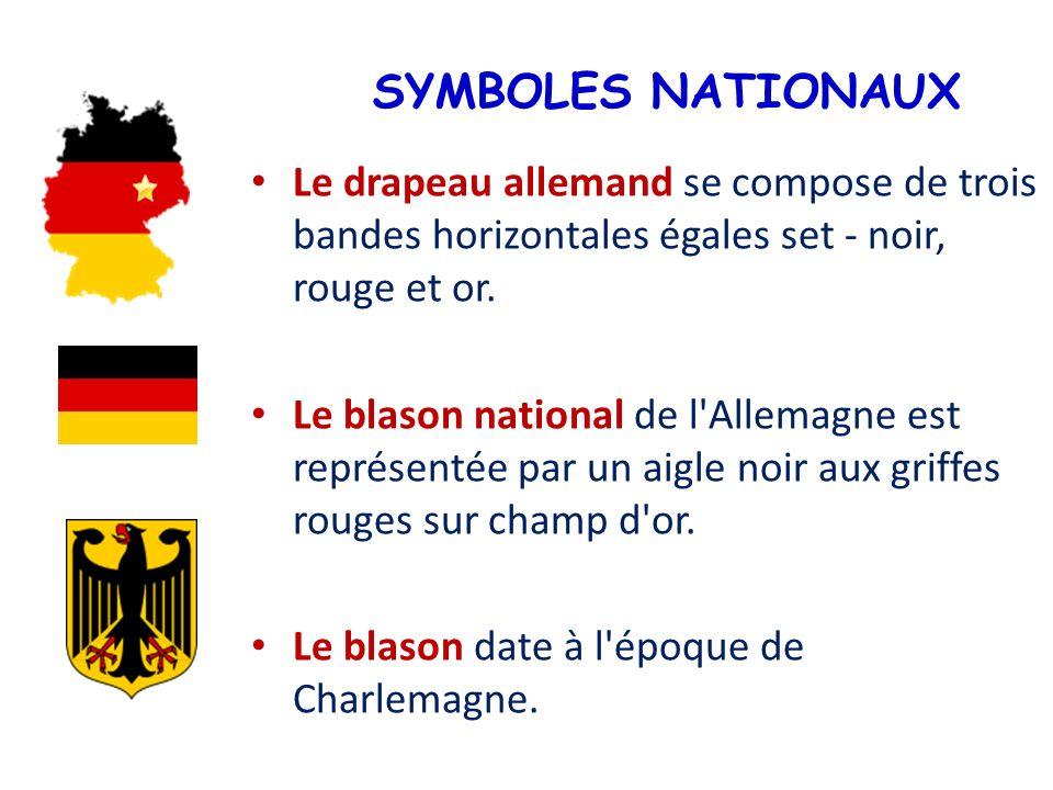 SYMBOLES NATIONAUX Le drapeau allemand se compose de trois bandes horizontales égales set - noir, rouge et or. Le blason national de l'Allemagne est r