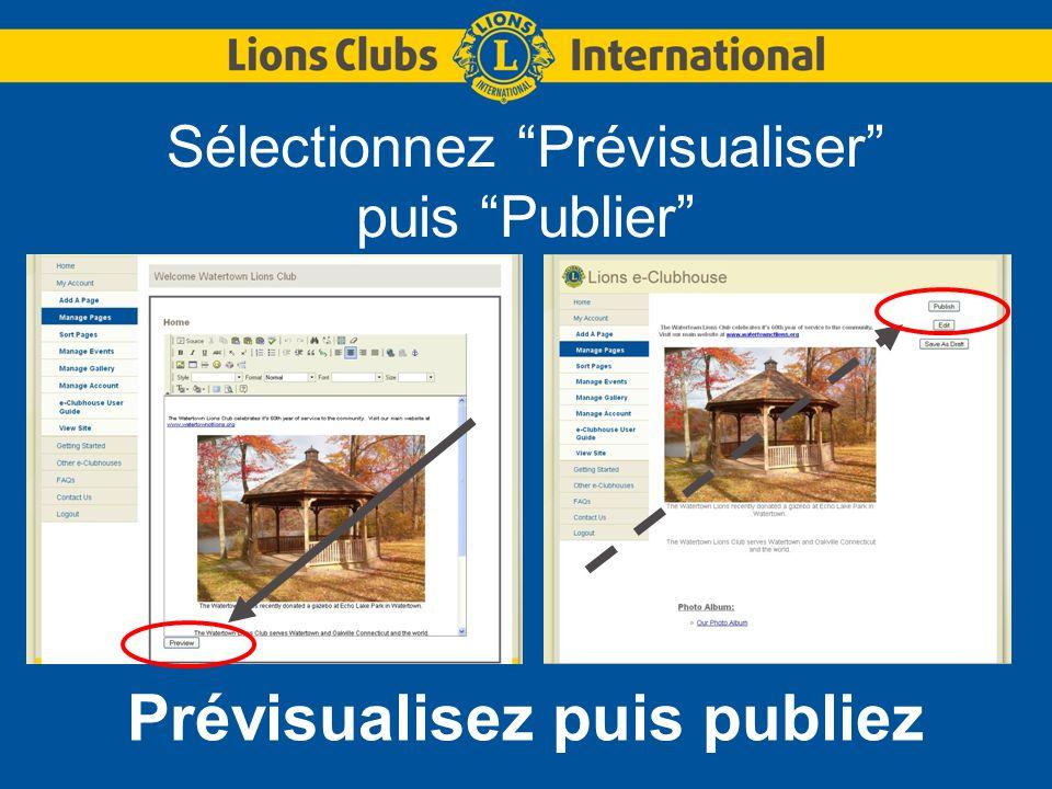 Sélectionnez Prévisualiser puis Publier Prévisualisez puis publiez