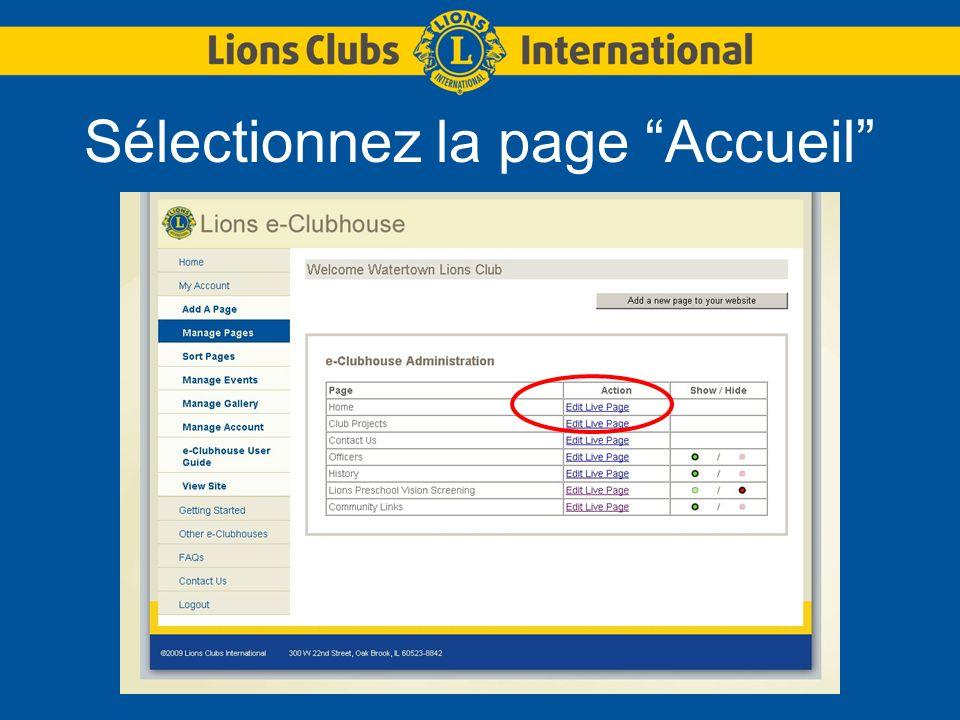 Sélectionnez la page Accueil